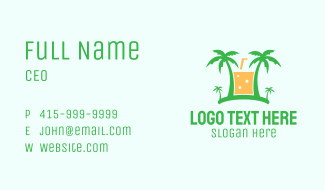 Palm Trees Juice Drink Business Card