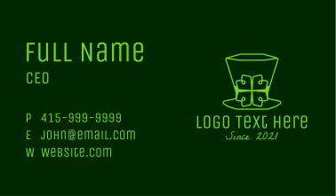 Minimalist Leprechaun Hat  Business Card