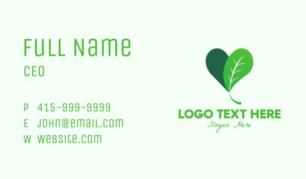 nature lover - Organic Plant Heart  Business card horizontal design