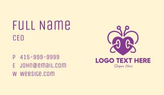 Purple Butterfly Heart Business Card