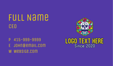 Stained Glass Skull Business Card