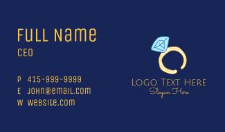 Pink Sapphire Ring Line Art Business Card