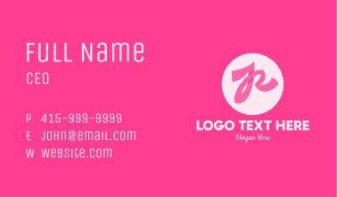 Pink Ribbon Letter R Business Card