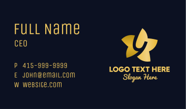 Gold Star Letter Y Business Card