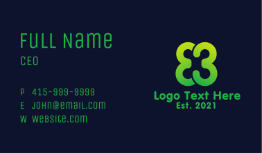 Green Clover Number 3 Business Card