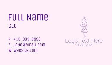 Purple Ice Cream Outline Business Card