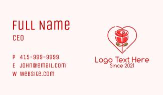 Rose Heart Flower  Business Card
