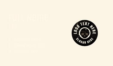 Grunge Disc Skull Badge Business Card