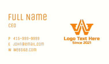Construction Letter W Business Card