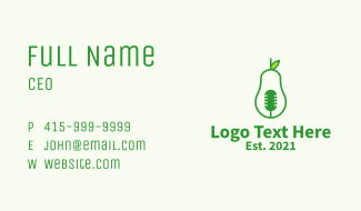 Green Mic Avocado  Business Card