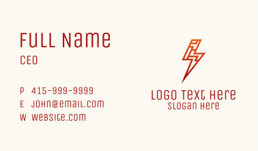 Red Cyber Lightning Business Card