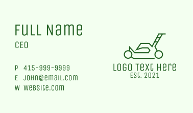 Green Outline  Lawn Mower Business Card