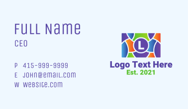 Multicolor Camera Lettermark  Business Card