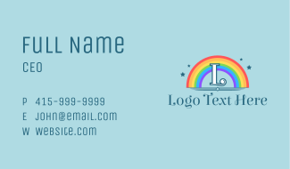 Sparkly Rainbow Letter Business Card