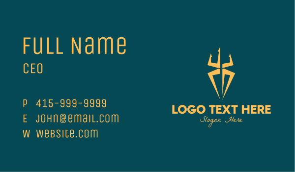 greek god - Golden Spider Trident Business card horizontal design
