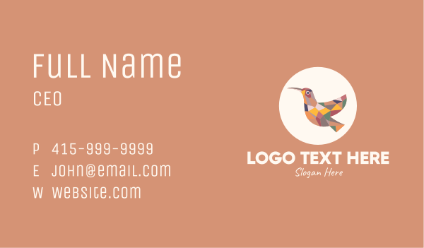 hummingbird - Multicolor Bird Business card horizontal design