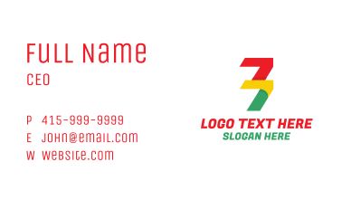 Colorful Number 77 Business Card