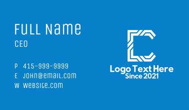 White Tech Letter C Business Card