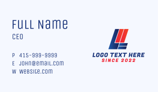 Racing Letter L Business Card