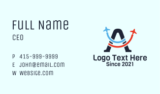 Aviation Letter A  Business Card
