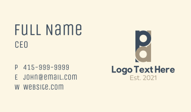 Overlap Letter P & D Business Card