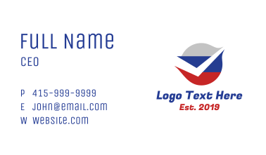 Russian Flag Check Business Card