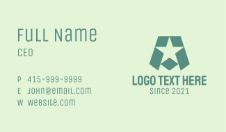 Military Star Letter A Business Card
