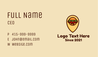 Burger Location Pin Business Card