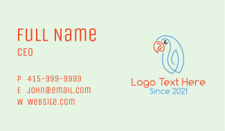 Minimalist Smiling Parrot  Business Card