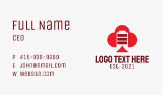 Red Spade Battery  Business Card