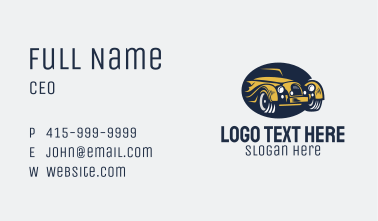 Yellow Vintage Car Business Card