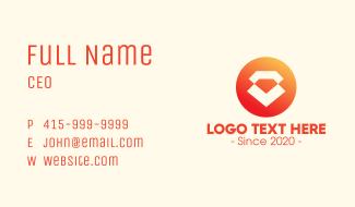 Modern Orange Diamond Business Card