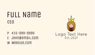 Medieval Queen Mascot Business Card