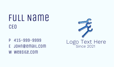 Blue Wrench Tool Business Card