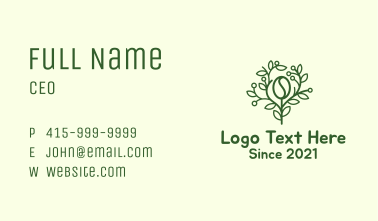 Coffee Bean Tree Branch Business Card