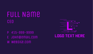 Purple Circuit Letter Business Card