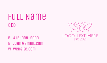 Pink Swan Couple  Business Card