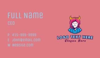 Pink Hair Girl Gamer Business Card