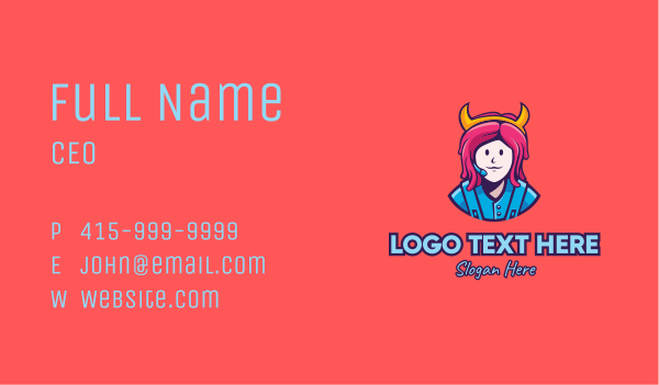 game youtuber - Pink Hair Girl Gamer Business card horizontal design