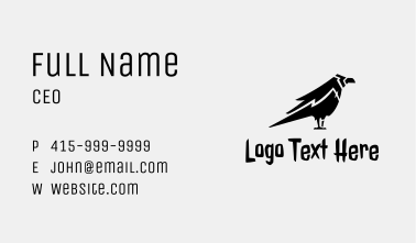Black Crow Silhouette  Business Card