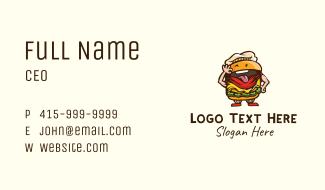 Playful Burger Cartoon Business Card