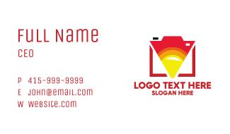 Geometric Sunrise Camera Business Card