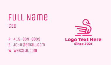 Pink Swan Lake Outline Business Card