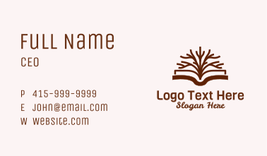 Tree Book Library Business Card