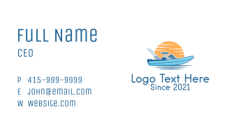Sunset Fishing Boat  Business Card