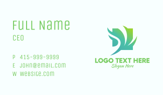 Green Windy Leaves Business Card