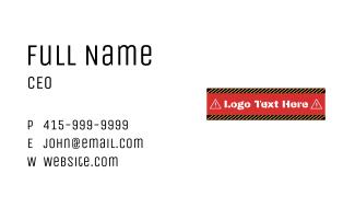 Danger Warning Wordmark Business Card