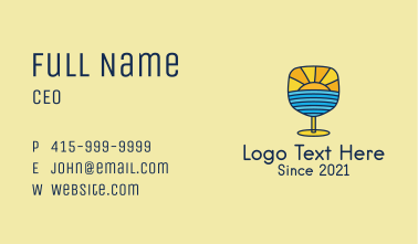 Sunset Cocktail Drink  Business Card