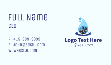 Coral Reef Droplet  Business Card