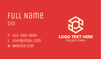 Digital White Hexagon Business Card